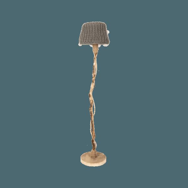 trä golvlampa träfot stickade lampskärmen taupe