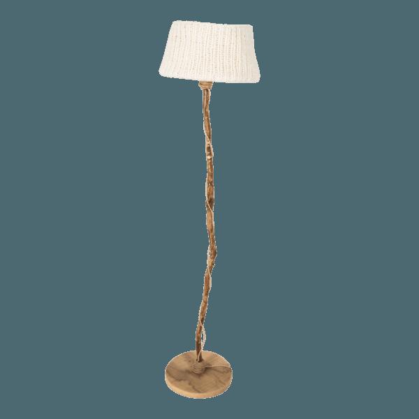 trä golvlampa träfot stickade lampskärmen vit