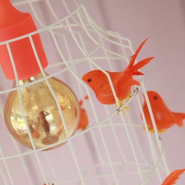 Fågelbur hängande lampa babyrum tjej