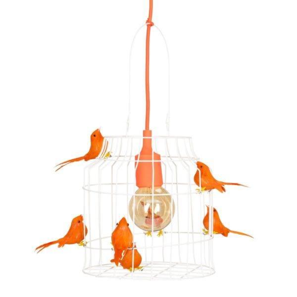 Fågelbur hängande lampa orange