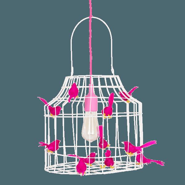 Hängande lampa fåglar fuchsia