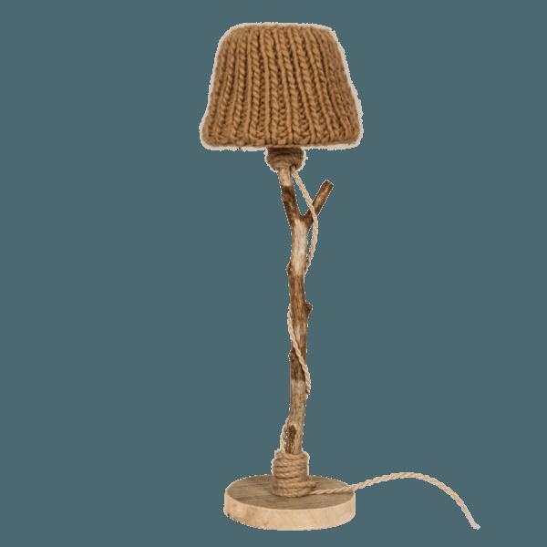 Bordslampa trä kamel-färgad