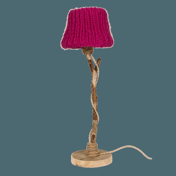 Bordslampa trä fuchsia