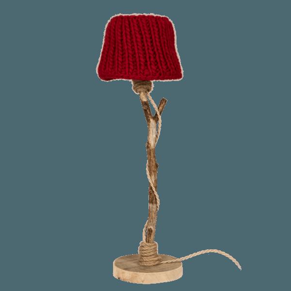 Bordslampa trä röd