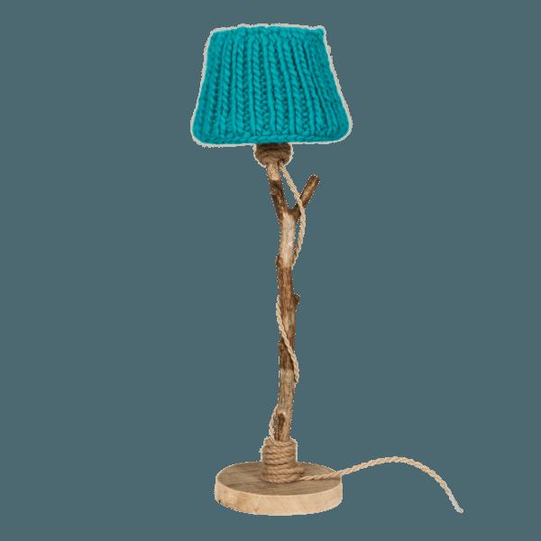 Bordslampa trä turkos