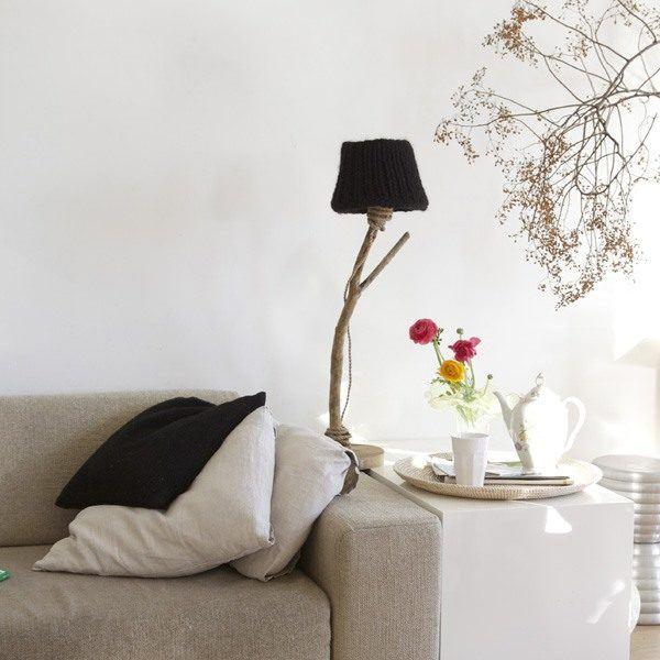 Bordslampa trä svart rustik