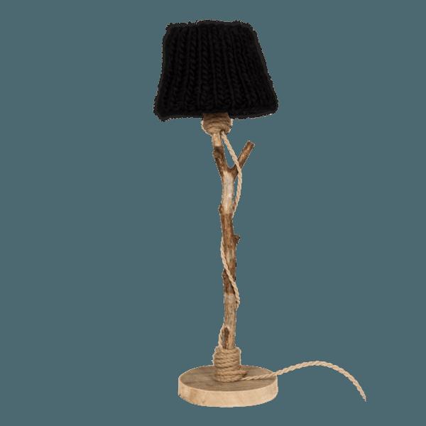 Bordslampa trä svart