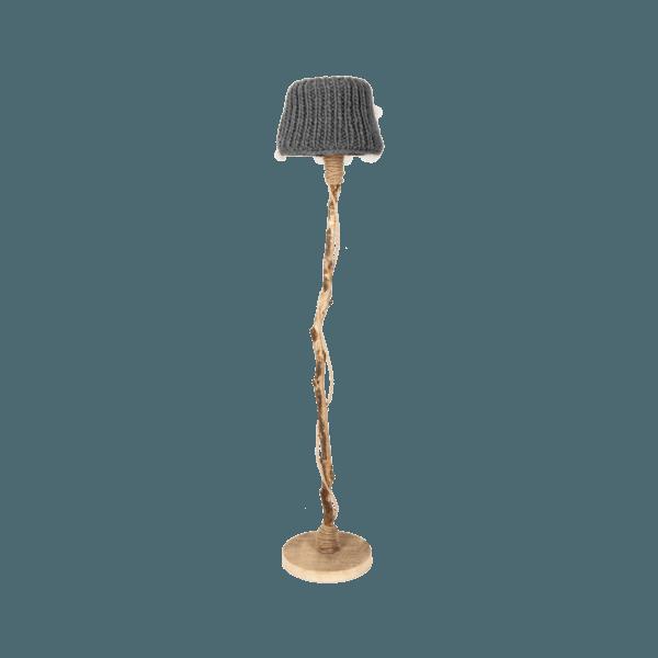 Golvlampa trä stickade lampskärmen antracitgrå