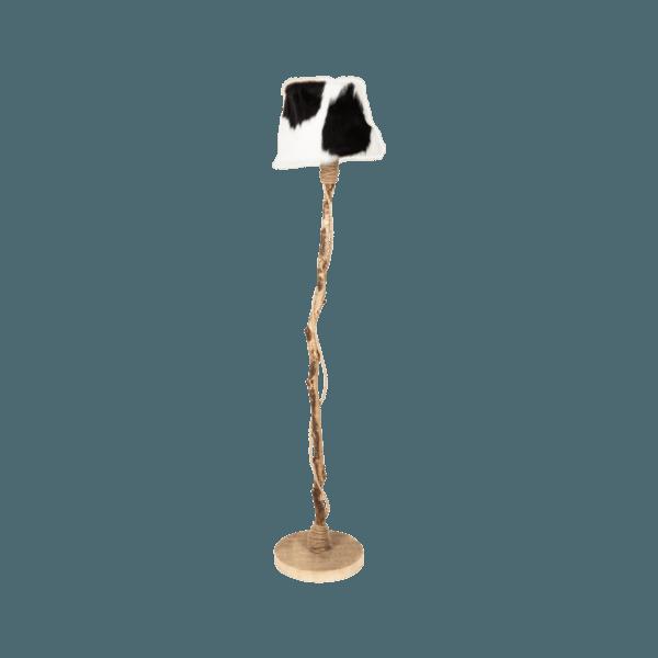 golvlampa av ek lampskärmen från riktigt kalvskinn