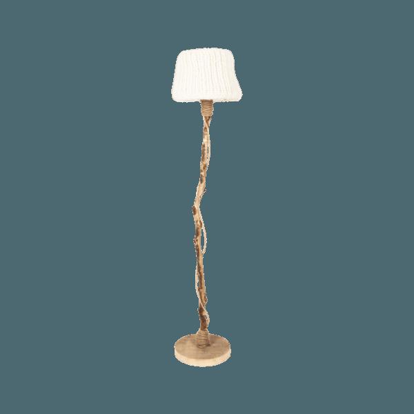 trä golvlampa träfot stickade lampskärmen benvit