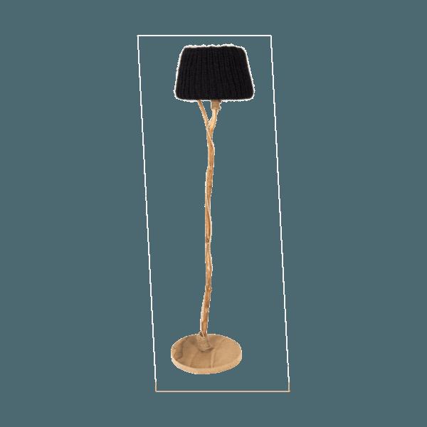 Golvlampa trä stickad skärm
