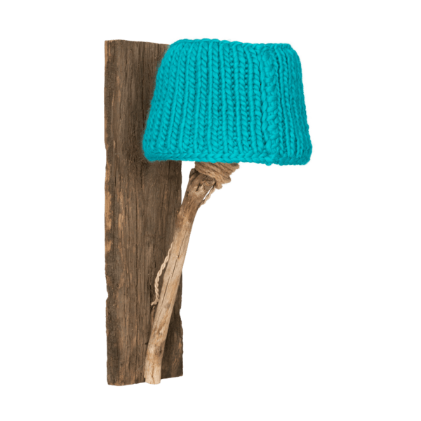 Trävägglampa turkos medium