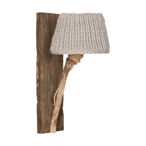 Trävägglampa beige medium