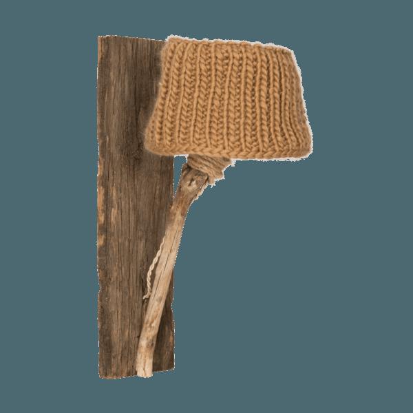 Trävägglampa kamel-färgad medium