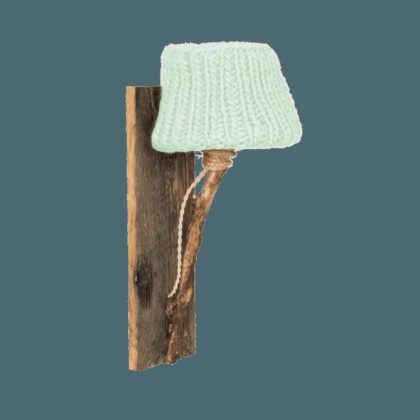 Trävägglampa mint