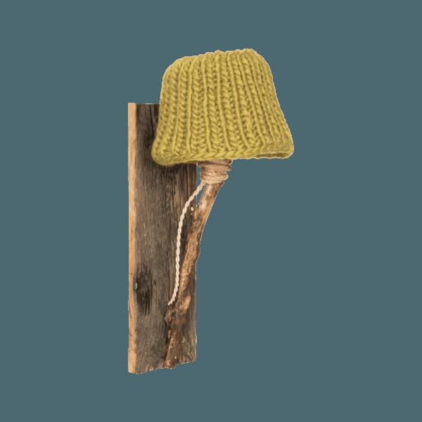 Trävägglampa senap grön