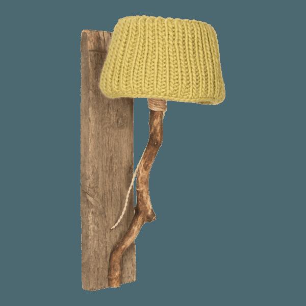 Trävägglampa senap grön stickade lampskärmen