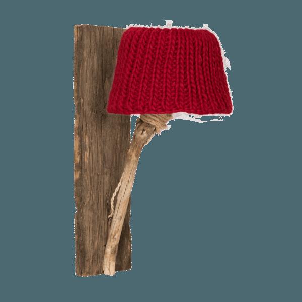 Trävägglampa röd medium