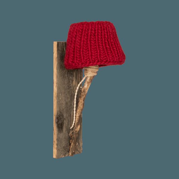 Trävägglampa röd