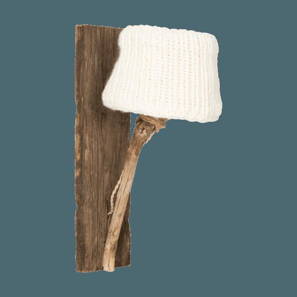 Trävägglampa benvit rustik