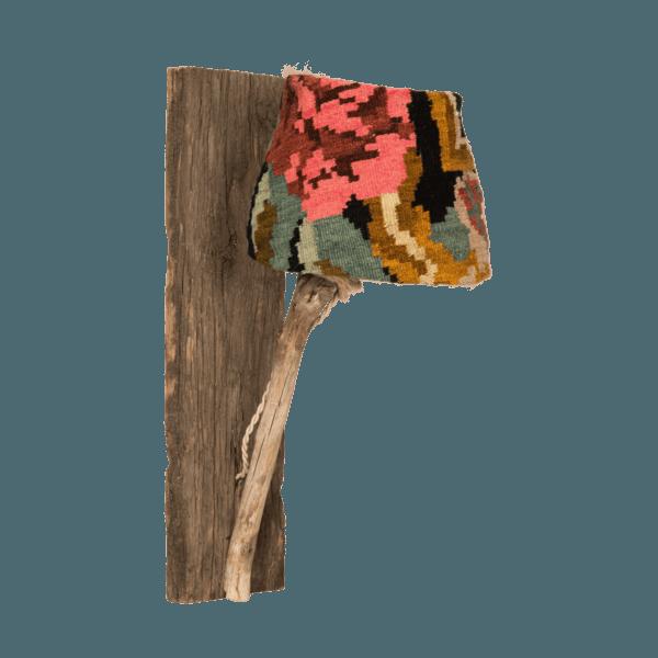 Trä vägglampa med kelim rose-skärm