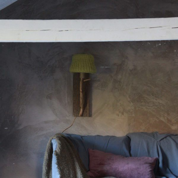 Trävägglampa rustik landstil