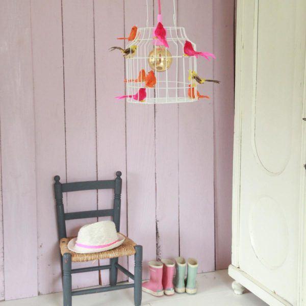 Fågelbur hängande lampa vitt neon babyrum ros