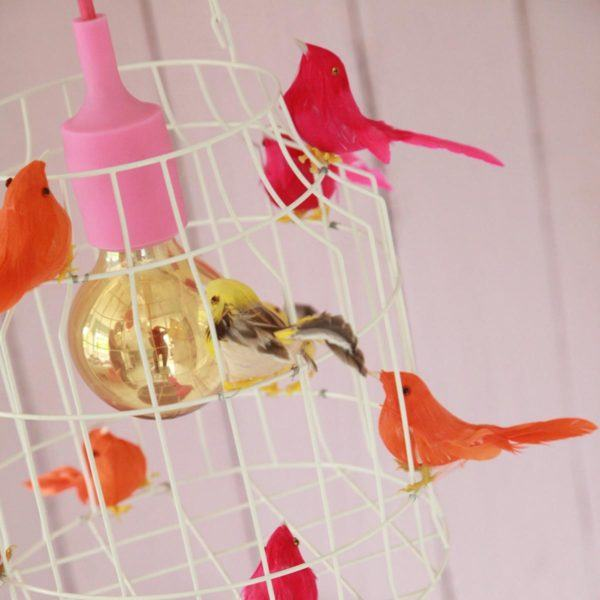 Fågelbur hängande lampa vitt neon tjejrum ros