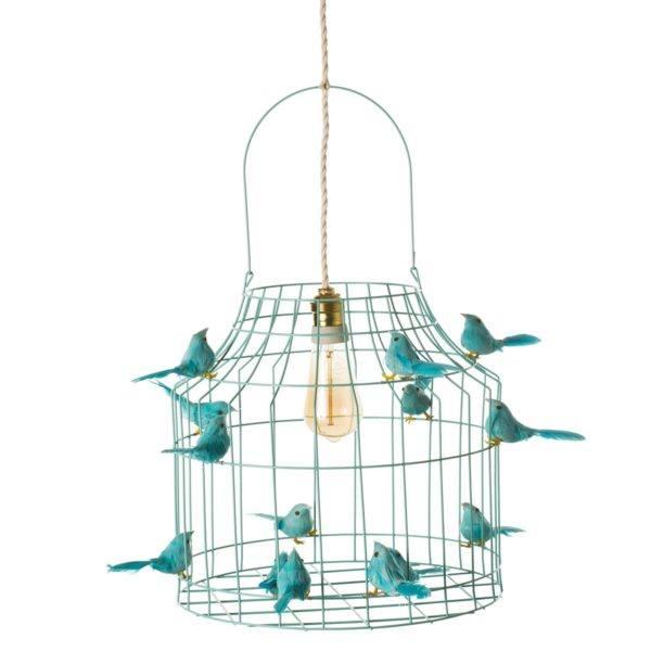 Hängande lampa fåglar turkos