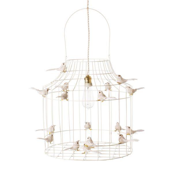 Hängande lampa med små fåglar vit