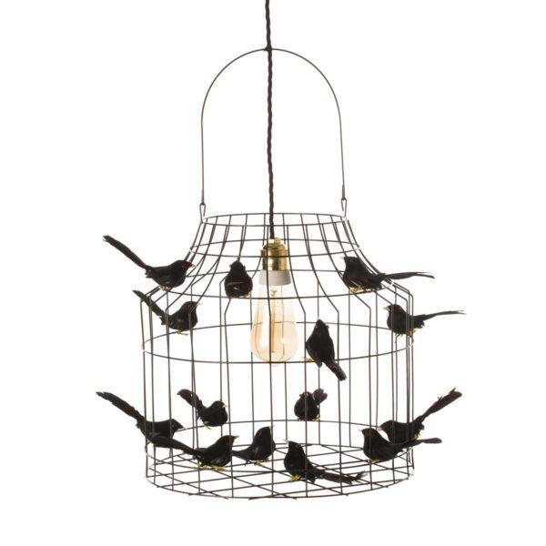 Hängande lampa fåglar svart