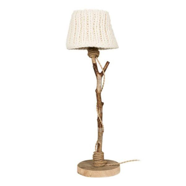Bordslampa trä benvit