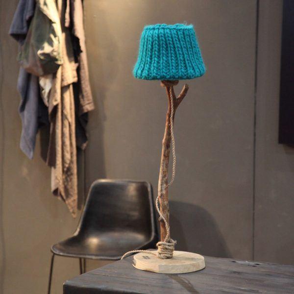 Bordslampa trä stickade lampskärmen Dutch Dilight
