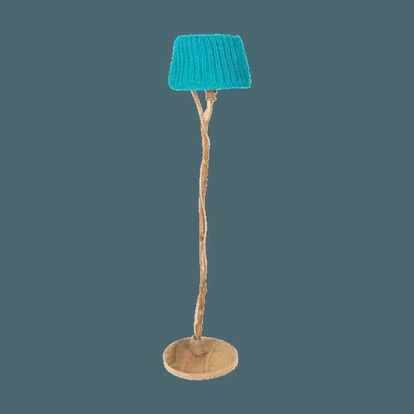 trä golvlampa träfot stickade lampskärmen turkos