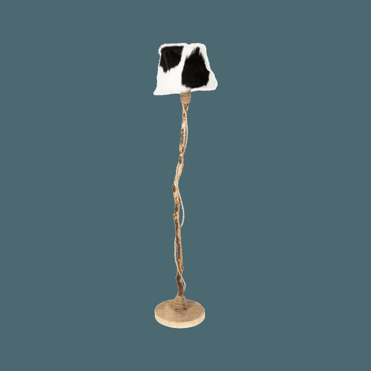 golvlampa trä med pälsskärm Dutch Dilight