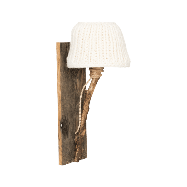 Trävägglampa benvit small