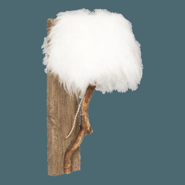 trävägglampa lampskärmen vit isländskt fårskinn