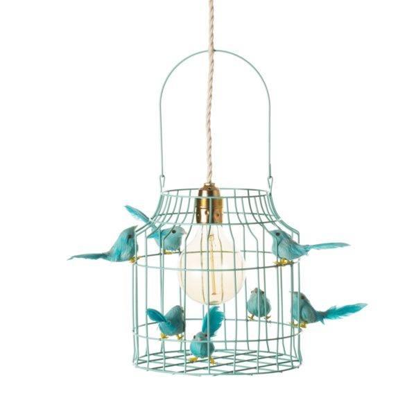 Fågelbur hängande lampa turkos