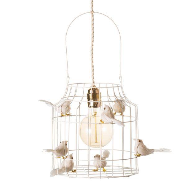Fågelbur hängande lampa vit