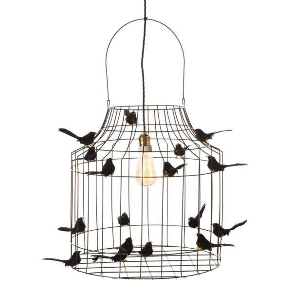Hängande lampa med små fåglar svart